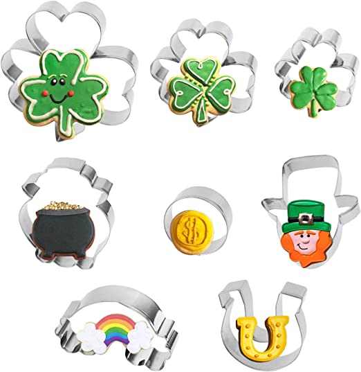 GOOD LUCK Peel Off Stickers Horse Shoe Clover Shamrock Gold or Silver