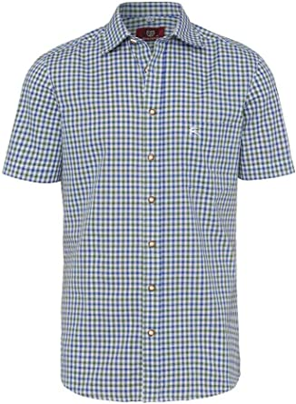 OS Trachten Moser 112338 - Camisa de Manga Corta para Traje Tradicional tirolés, Color Verde y Azul