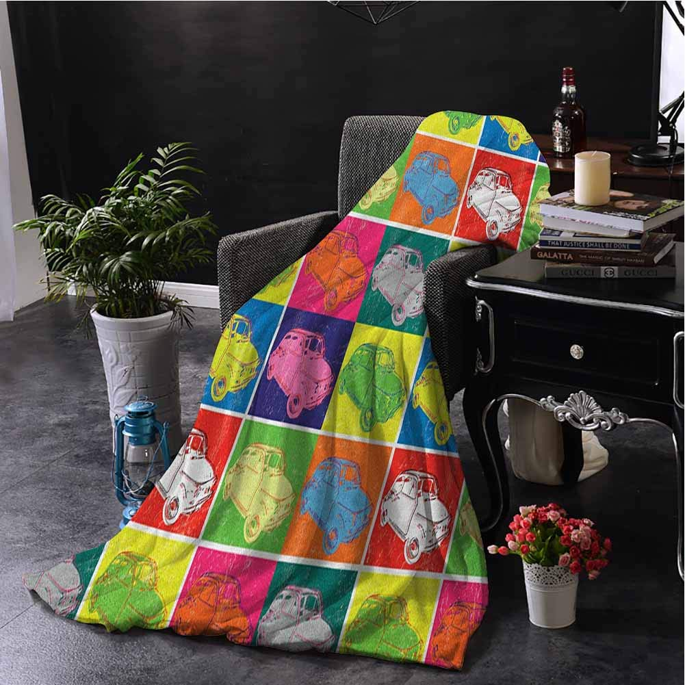 Luoiaax Cars Bedding Fleece Blanket Queen Size Italian Cars in Colorful Frames and Pop Art Style Grunge Display Artful Composition Super Soft Fuzzy Elegant Blanket W70 x L93 Inch Multicolor