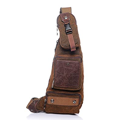 Outreo Homme Sac bandoulière Sac de Voyage Vintage Chest Bag Sac Porté épaule en Cuir Sport Sacoche Besace messager Rétro Bourse pour Outdoor Toile roB6JxD4