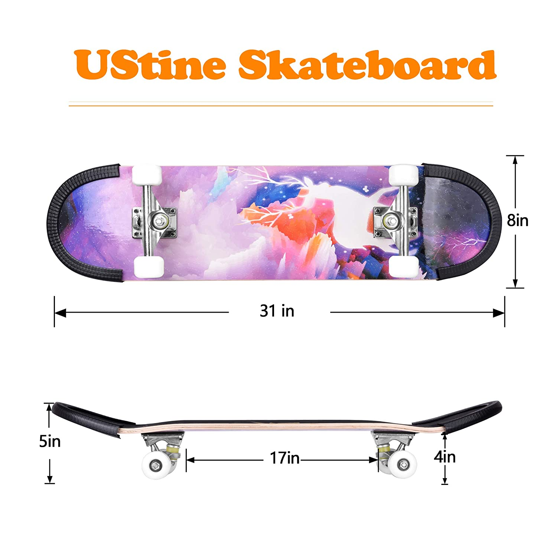 UsTinE Pro Skateboard 31 X 8 Standard Skateboards Cruiser Complete Maple 9 Layers Double Kick Concave Skate Boards