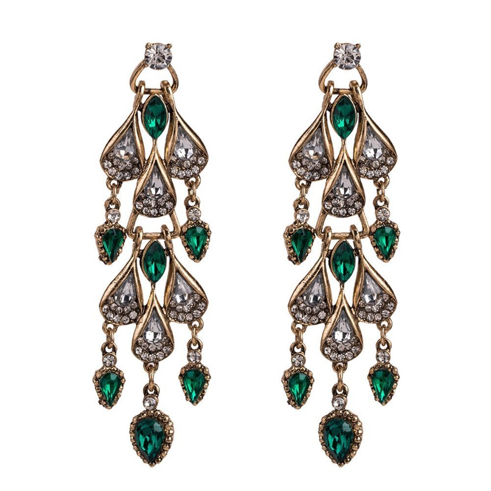 KissYan Large Austrian Crystal Rhinestone Chandelier Dangle Earrings Wedding Bridal Crystal Drop Dangle Earrings Bridal Jewelry(Green)
