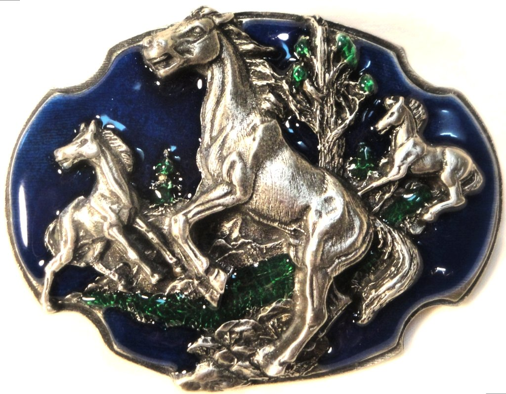 WILD MUSTANG HORSES BELT BUCKLE BY SISKIYOU