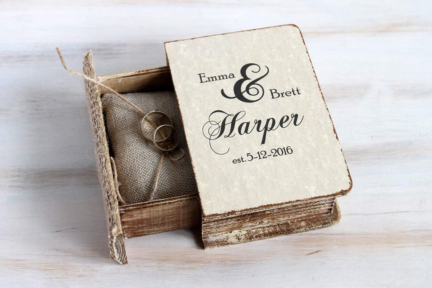 Rustic Wedding Ring Box Rustic bearer box  Personalized with Initials Pillow box
