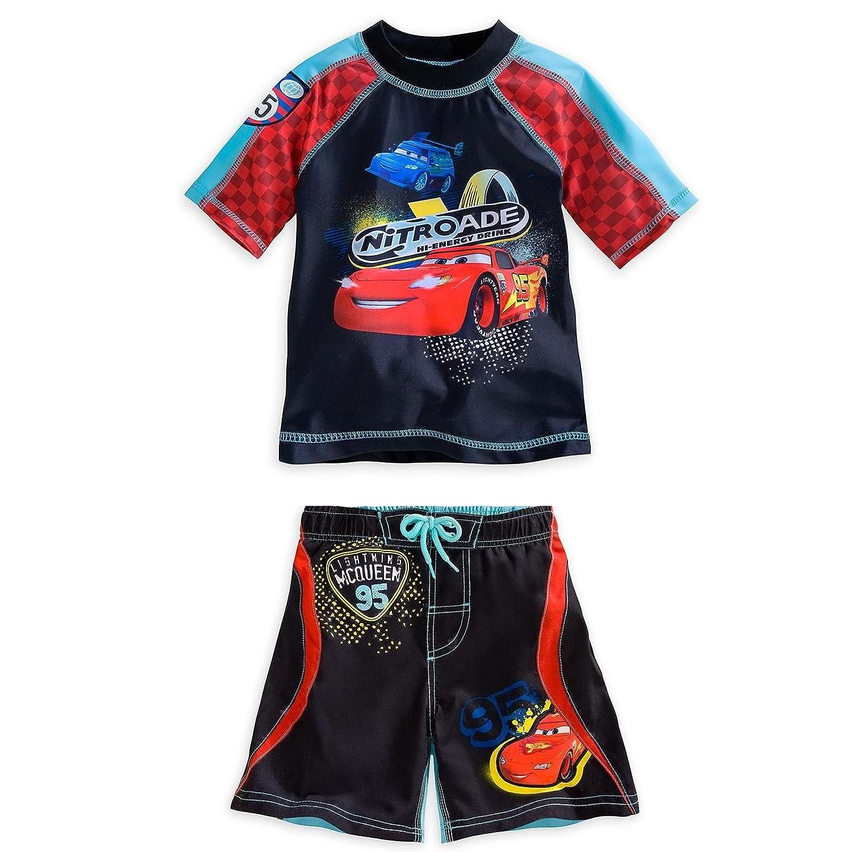 Disney Store Cars Lightning Mcqueen Rash Guard And Swim Trunks Set Boy Size 5//6