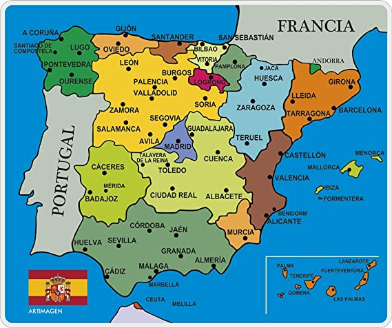 Artimagen Alfombrilla, Mouse Pad Mapa España Ciudades 245x205 mm ...