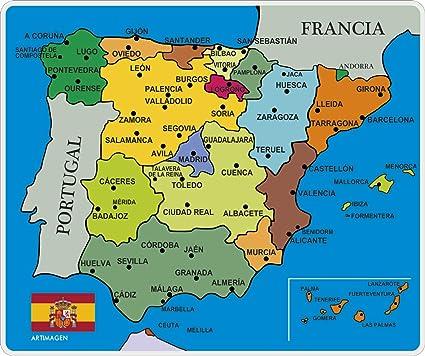 Artimagen Alfombrilla, Mouse Pad Mapa España Ciudades 245x205 mm.