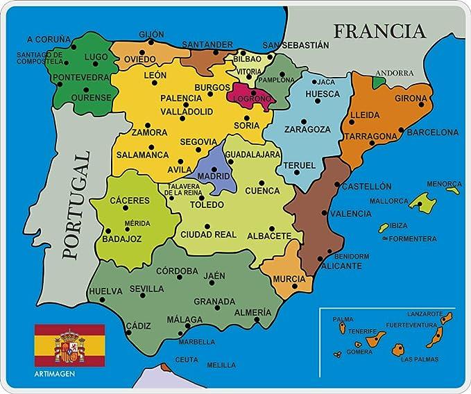 Artimagen Alfombrilla, Mouse Pad Mapa España Ciudades ...