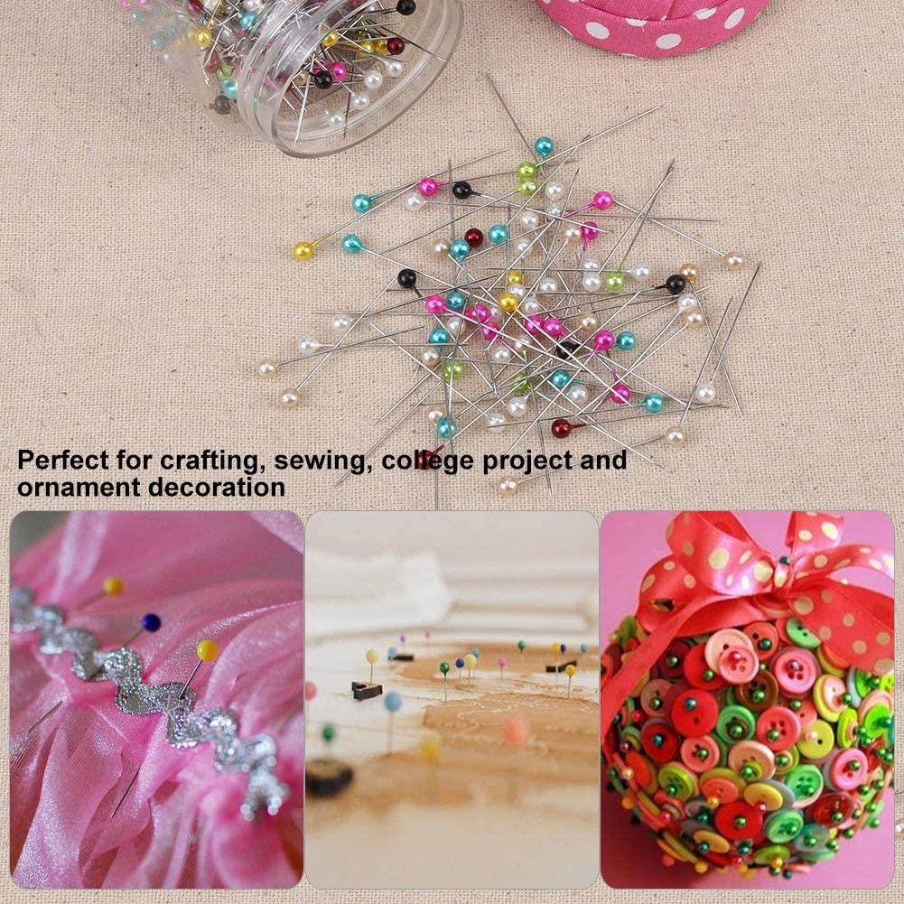 Agujas de Abalorios durables para Usar alfileres de Costura Resistentes para alfileres Cubiertos de Tela Rosa
