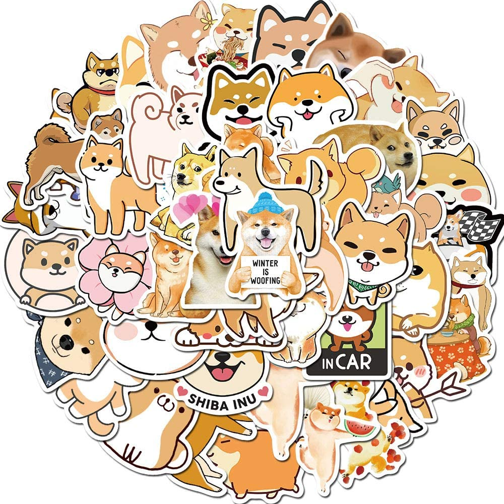 Girl Cute Dog Laptop Sticker 50pcs Pack Lovely Vinyl Skateboard Water Bottle Computer Travel Case Guitar Snowboard Luggage Car Bike Phone Graffiti Decal (Shiba Inu)