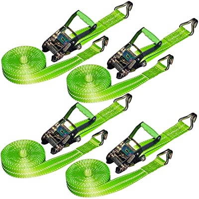 VULCAN Ratchet Strap with Wire Hooks - 2 Inch x 15 Foot, 4 Pack - High-Viz - 3,300 Pound Safe Working Load: Automotive