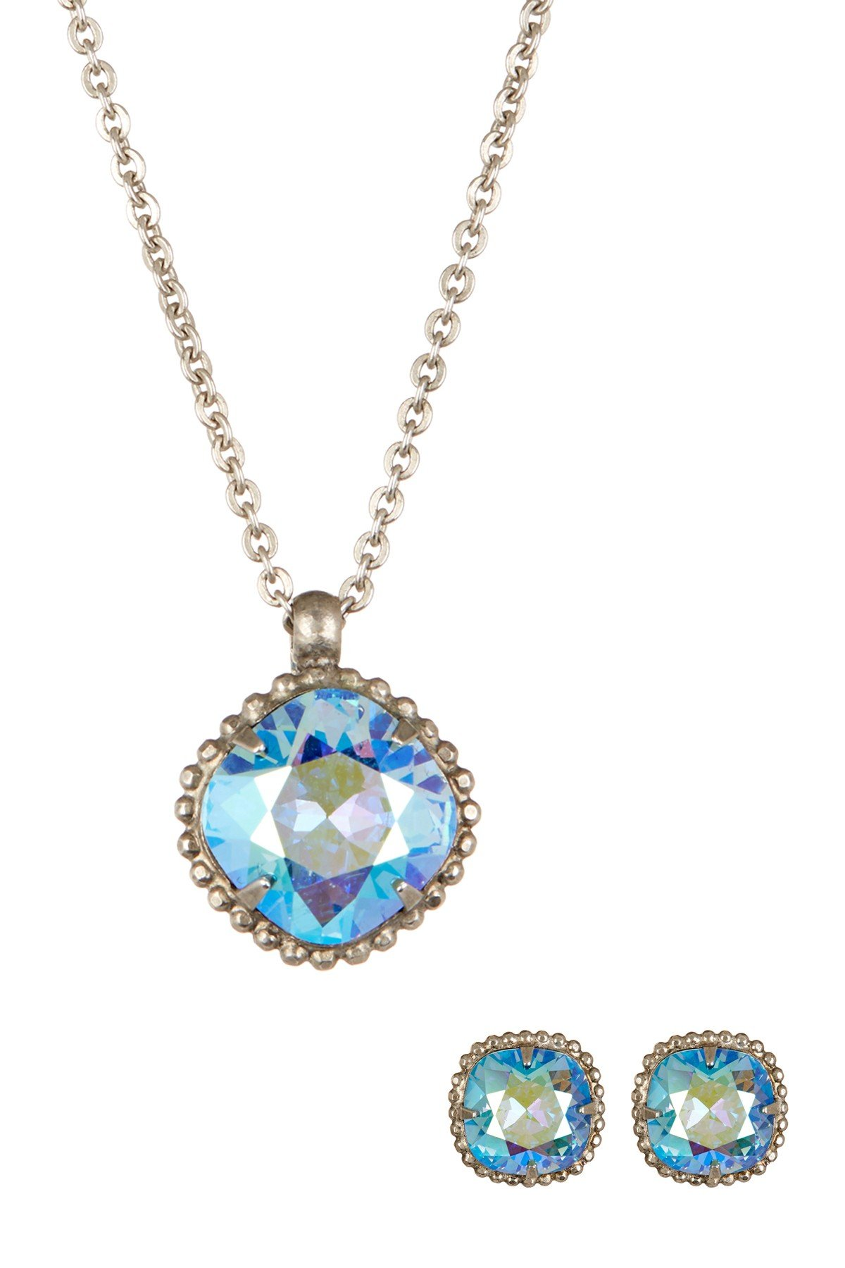 SORRELLI ELECTRIC BLUE Swarovski Framed Crystal Stud Earrings & Pendant Necklace Gift Set
