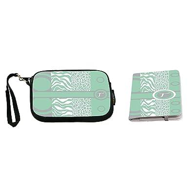 Rikki Knight Letter T Mint Green Leopard Zebra Design Neoprene Clutch Wristlet with Matching Passport Holder