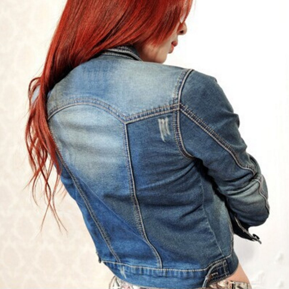 CHICFOR Womens Denim Jacket 3/4 Sleeve Button Down Slim Washed Boyfriend Cropped Outerwear Jean Jacket (Blue, L)