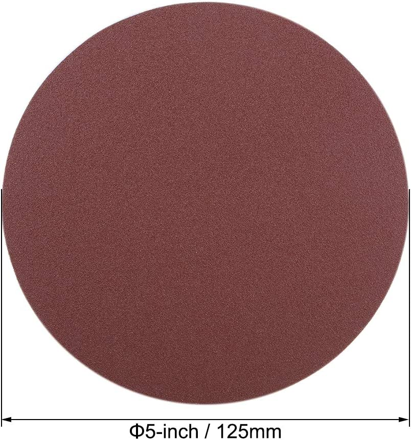 uxcell 5-Inch PSA Sanding Disc Aluminum Oxide Adhesive Back Sandpaper 120 Grit 20 Pcs