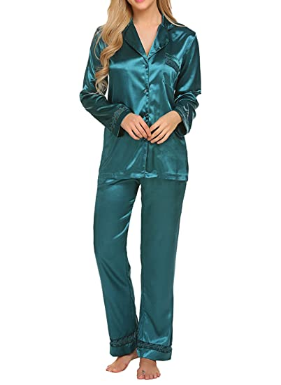 HOTOUCH Womens Silk Satin Pajamas Set Sleepwear Loungewear Dark Green XXL   Amazon.co.uk  Clothing 541bc4097
