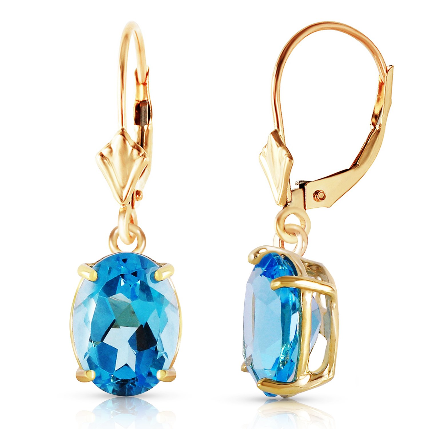 6.25 Carat 14k Solid Gold Dangling Blue Topaz Earrings