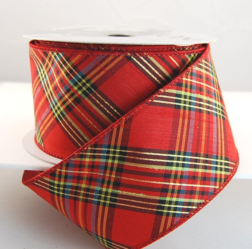 CHRISTMAS SCRIPT International Greetings Red seasonal Luxury Wire Edge Ribbon