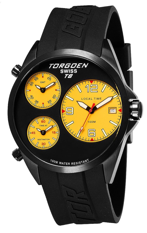 TORGOEN Swiss Herren-Armbanduhr Analog Edelstahl schwarz T08305