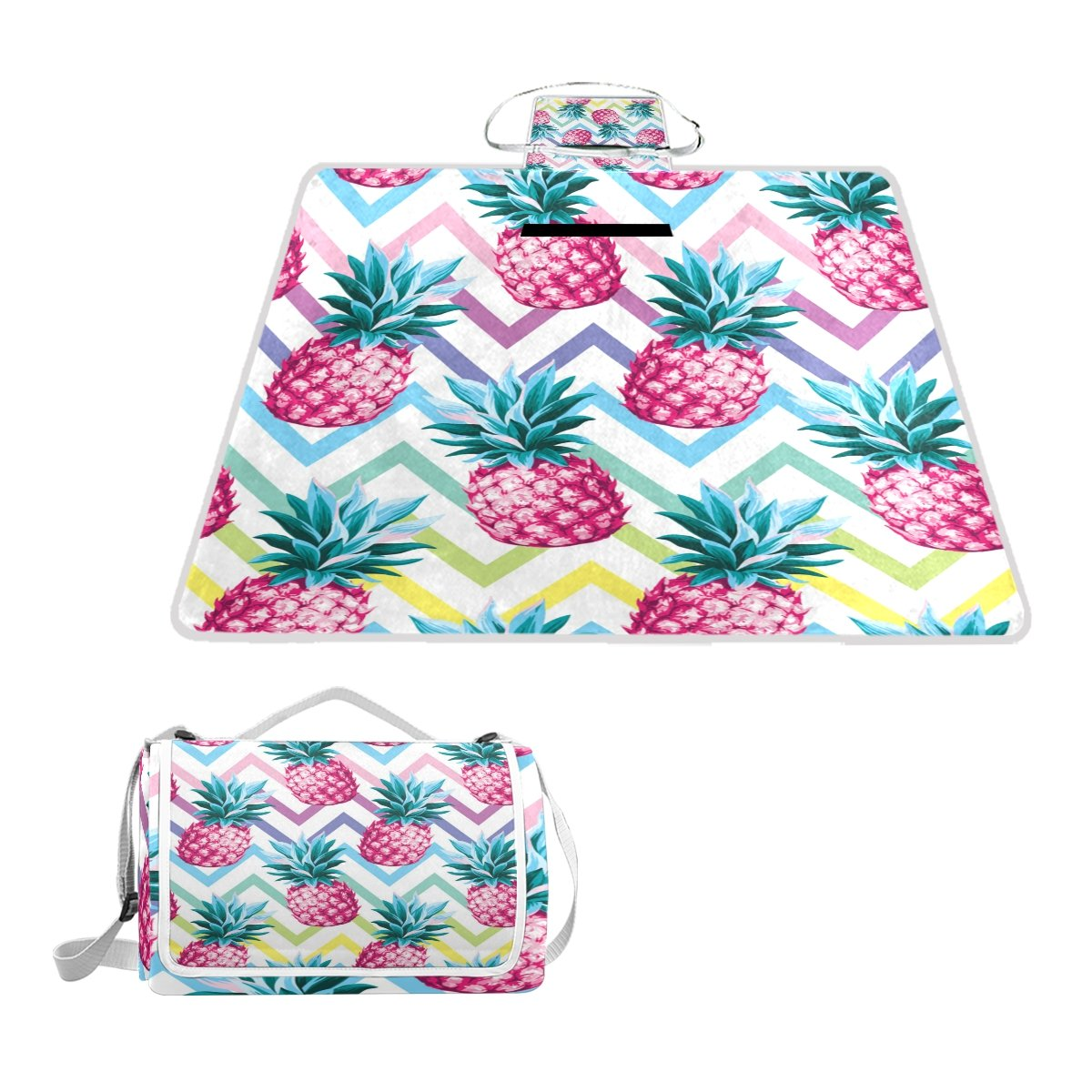 Naanle Chevron Pink Pineapple Fruit Picnic Blanket Outdoor Picnic Blanket Tote Water-Resistant Backing Handy Camping Beach Hiking Mat by Naanle
