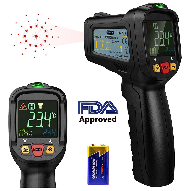 Infrarot thermometer, Dr.meter Berü hrungsloses Laser-Thermometer FDA genehmigte Temperatur-Gewehr -58° F - 1022° F fü r das Kochen BBQ-Automobilindustrie mit HD beleuchtetem LCD-Anzeige