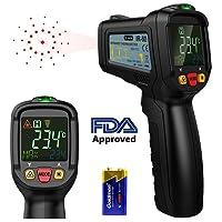 Infrarot thermometer, Dr.meter Berührungsloses Laser-Thermometer FDA genehmigte Temperatur-Gewehr -58°F - 1022°F für das Kochen BBQ-Automobilindustrie mit HD beleuchtetem LCD-Anzeige, Batterie eingeschlossen
