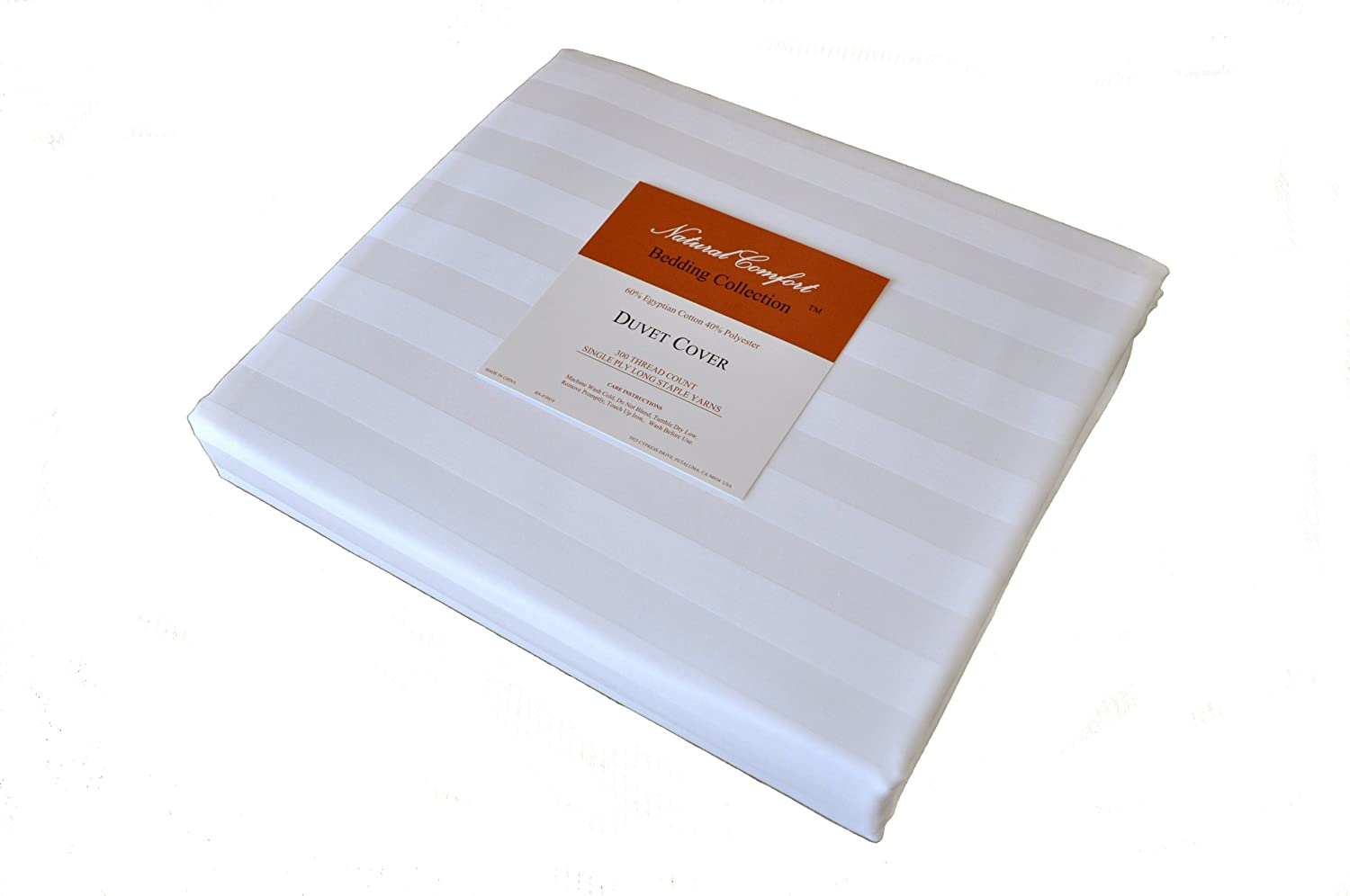 Luxury Wrinkle Free 300tc White Sateen Stripe Egyptian Cotton Duvet Cover, King, 105-Inch by 88-Inch