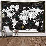 Wall Decor Hanging,Capsceoll Map Dorm Tapestry Large Wall Map Giant World Map World Map Wall Outdoor Wall Art Black Wall…