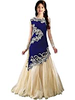 Fashion Dream Women's Velvet & Net Dress Material (Tx0-Baby Zoya_Blue_Free Size)