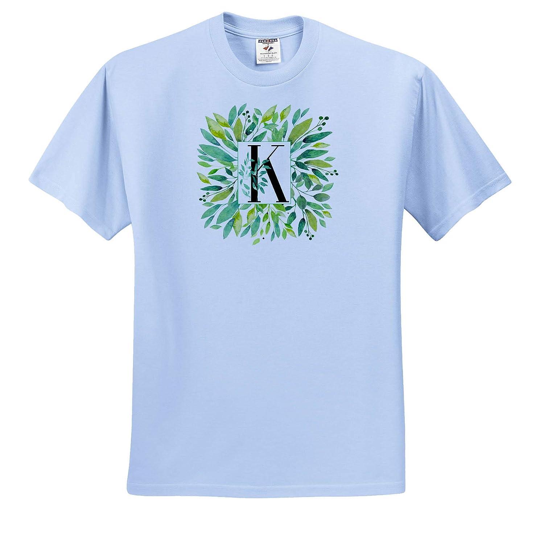 3dRose Anne Marie Baugh ts/_318099 Pretty Image of Watercolor Greenery Leaves Monogram K Adult T-Shirt XL Monograms