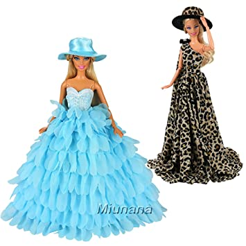 Miunana 2x Vestidos de noche Ropas para Barbie Muñeca 30 cm Doll - Leopardo y Azul