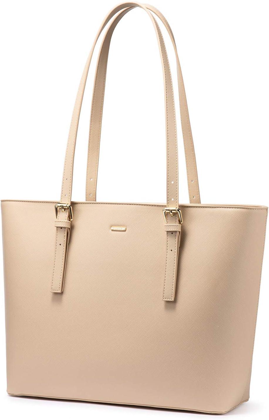 LOVEVOOK Computer Bags for Women Leather Tote Bag Laptop Handbag Work Purse, Beige