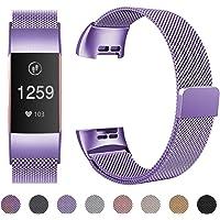 HUMENN für Fitbit Charge 3 Armband, Milanese Ersatz Fitness Armbänder Voll Einstellbare Metall Wristband mit Starkem Magneten Sperren für Fitbit Charge3, Klein Groß