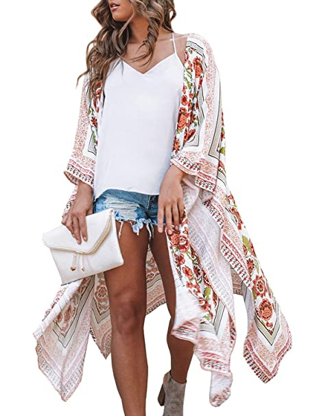 eb1a195409d Chunoy Women s Chiffon Long Kimono Sheer Loose Cardigan Lightweight  Breathable Cover Ups at Amazon Women s Clothing store