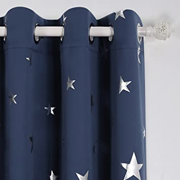 Blackout Curtains blackout curtains navy blue : Deconovo Blackout Curtains Grommet Blackout Curtains Silver Star ...