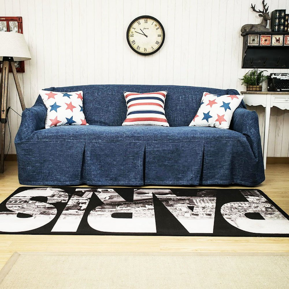 Sofa Throws 1 Piece Heavy Fabric Sofa Furniture Protector Slipcover with Pins (83''W x 158''L, Ink Blue) by KARUILU home
