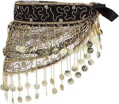 Sharplace Bauchtanz Hüfttuch Gürtel, Bauchtänzerin Kostüm, Pailletten Münztuch Münzgürtel mit 150 Goldenen Münzen Rock Schal