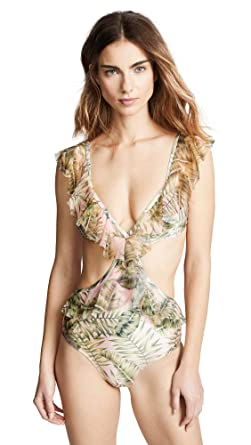 520a4f5323dbb Suboo Women's Palma Ruffled Cutout One Piece Swimsuit, Multi, 4 at ...
