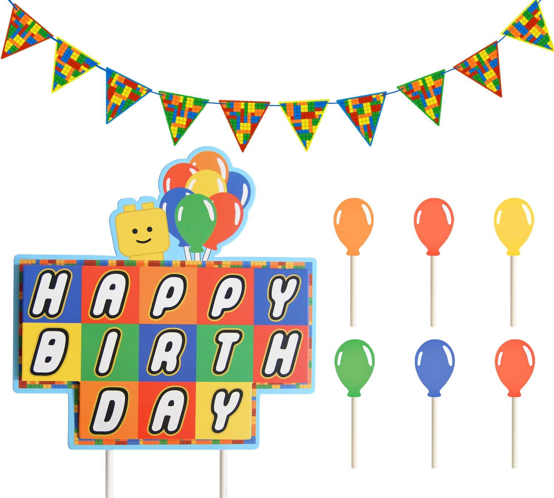 Remarkable Think Green Fun Building Bricks Blocks Birthday Cake Topper Set Funny Birthday Cards Online Elaedamsfinfo