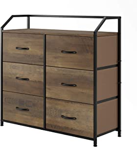 HOMECHO Fabric Dresser with 6 Drawers, Wide Chest of Drawers with Wood Top, Sturdy Metal Frame, Furniture Storage Tower for Bedroom, Closets, Hallway, Entryway, Rustic Brown