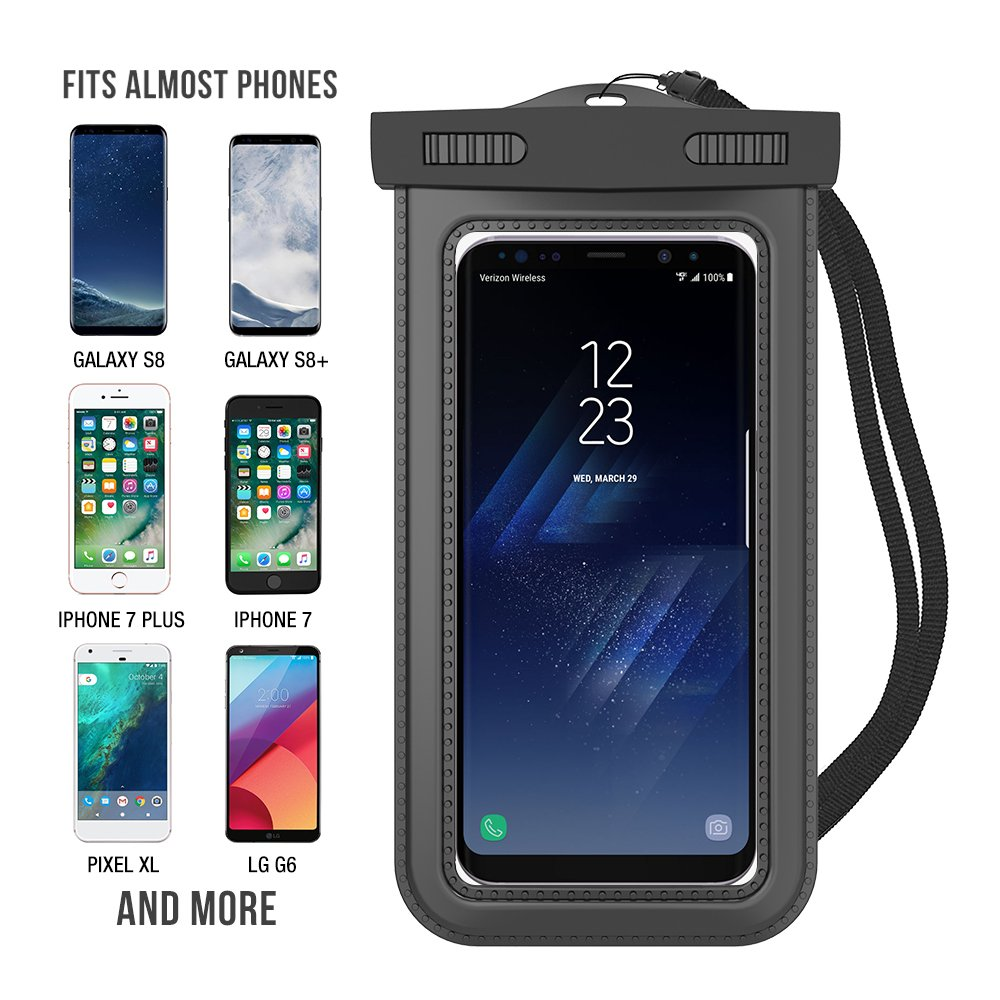 """Trianium Cellphone Dry Bag Pouch w// IPX8 for iPhone X 8 7 6s 6 Plus SE 5s 5c 5 Pixel up to 6.0/"""" diagonal Galaxy s9 s8 s7 s6 edge 2Pack Note 5 4,LG G6 G5,HTC 10,Nokia Universal Waterproof Case"""