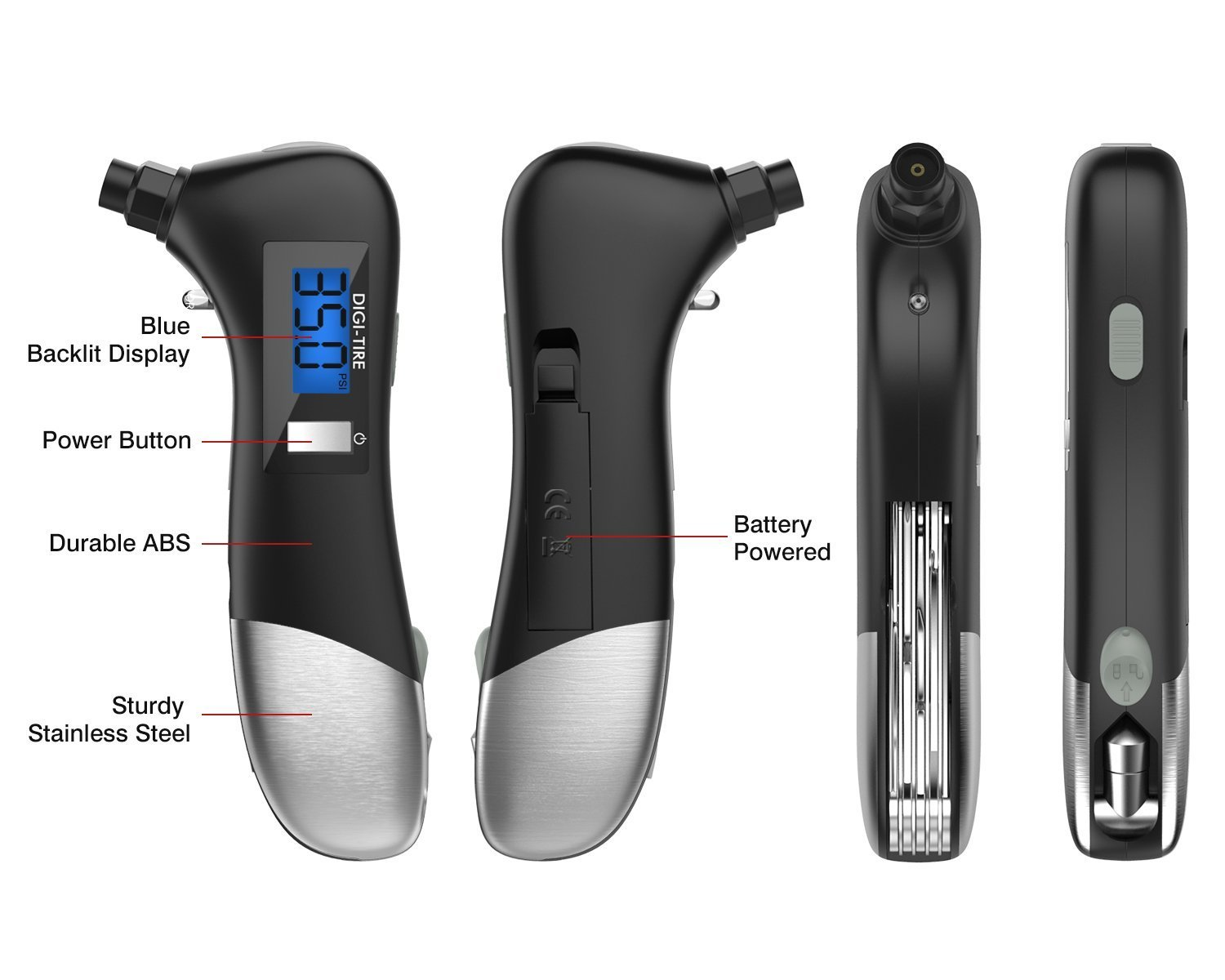 Brightt 9-in-1 Digital Tire Pressure Gauge 150PSI with Multi functional Rescue Tools of LED Flashlight, Car Hammer, Seatbelt Cutter, Screw Drivers, Scissors and Pliers for Car, All Vehicles by Brightt (Image #6)