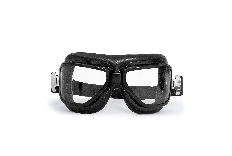 Occhiali Moto Vintage Aviatore Adatta a Sormontare gli Occhiali da Vista - Profilo in Acciaio Nero Opaco - by Bertoni AF194A - Maschera Moto da Aviatore Antiappannante
