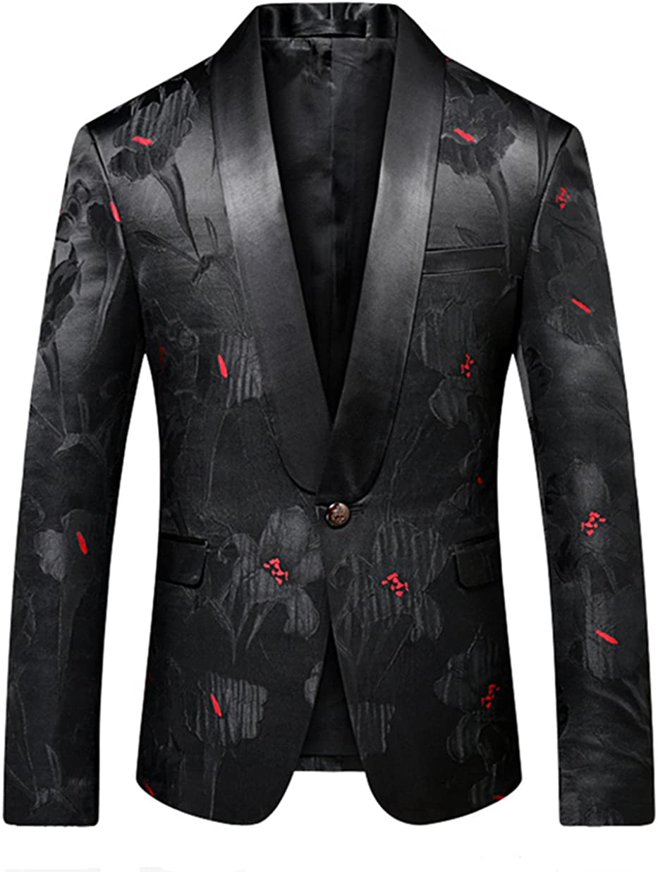 MOGU Mens Black Blazer Slim Fit Stylish Shawl Lapel Suit Jacket