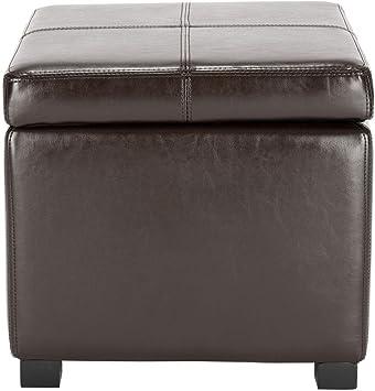 safavieh hudson collection brown leather square storage ottoman