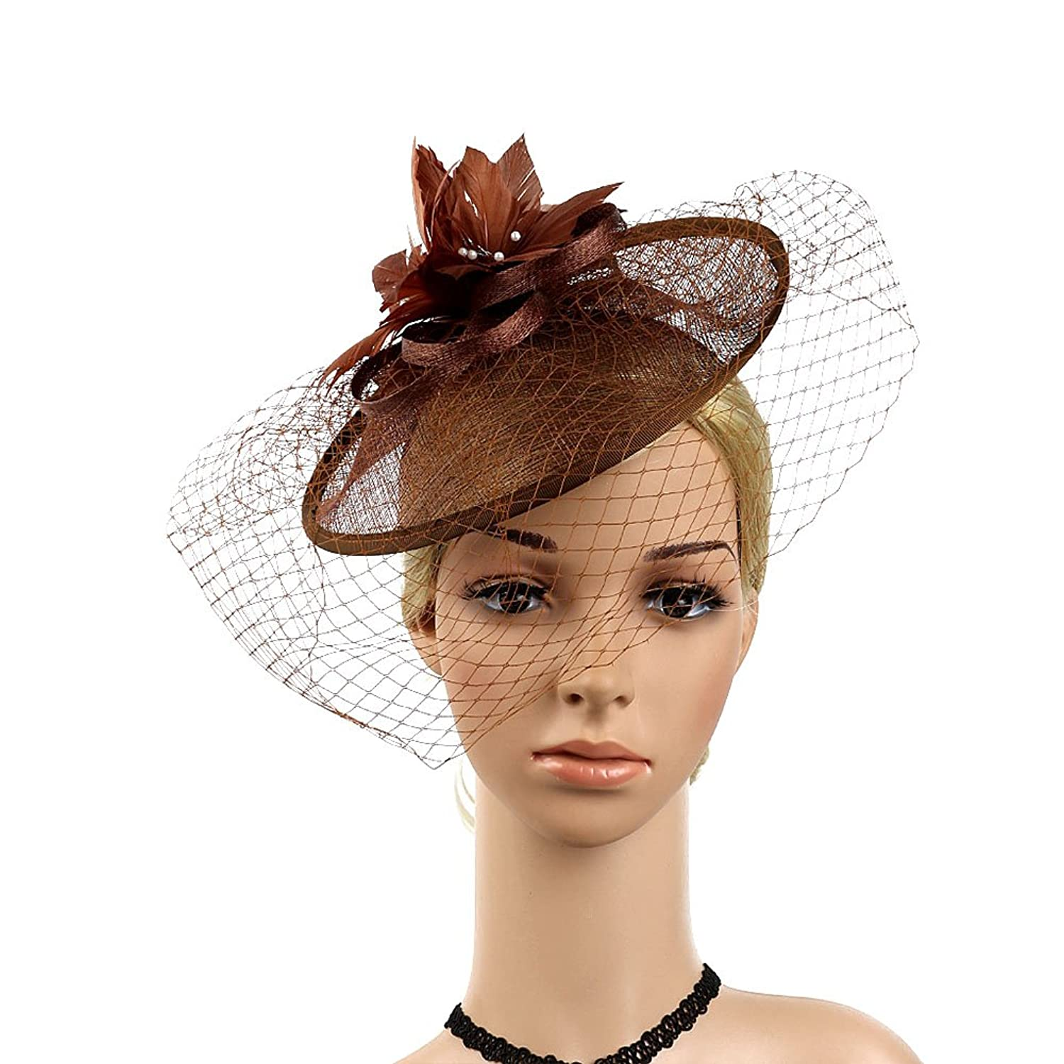 Ztl Women's Feather Fascinator Pillbox Hats Wedding Tea Party Hats