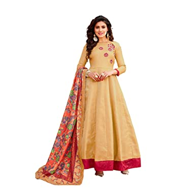 c69267fb243 Colourfull Button Gorgeous looking Full Flair Anarkali Style Gown with  Dupatta Meterial Sets (Beige)