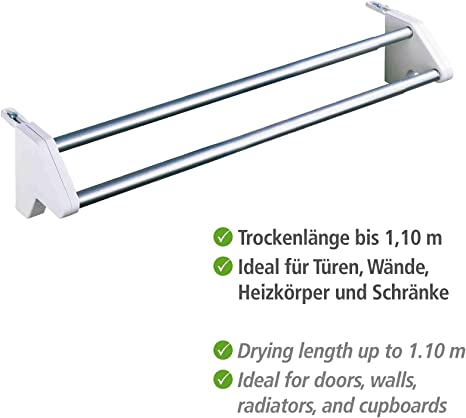 Aluminio Plateado Wenko Twin Secador de Ropa para Radiadores 57x3x3 cm