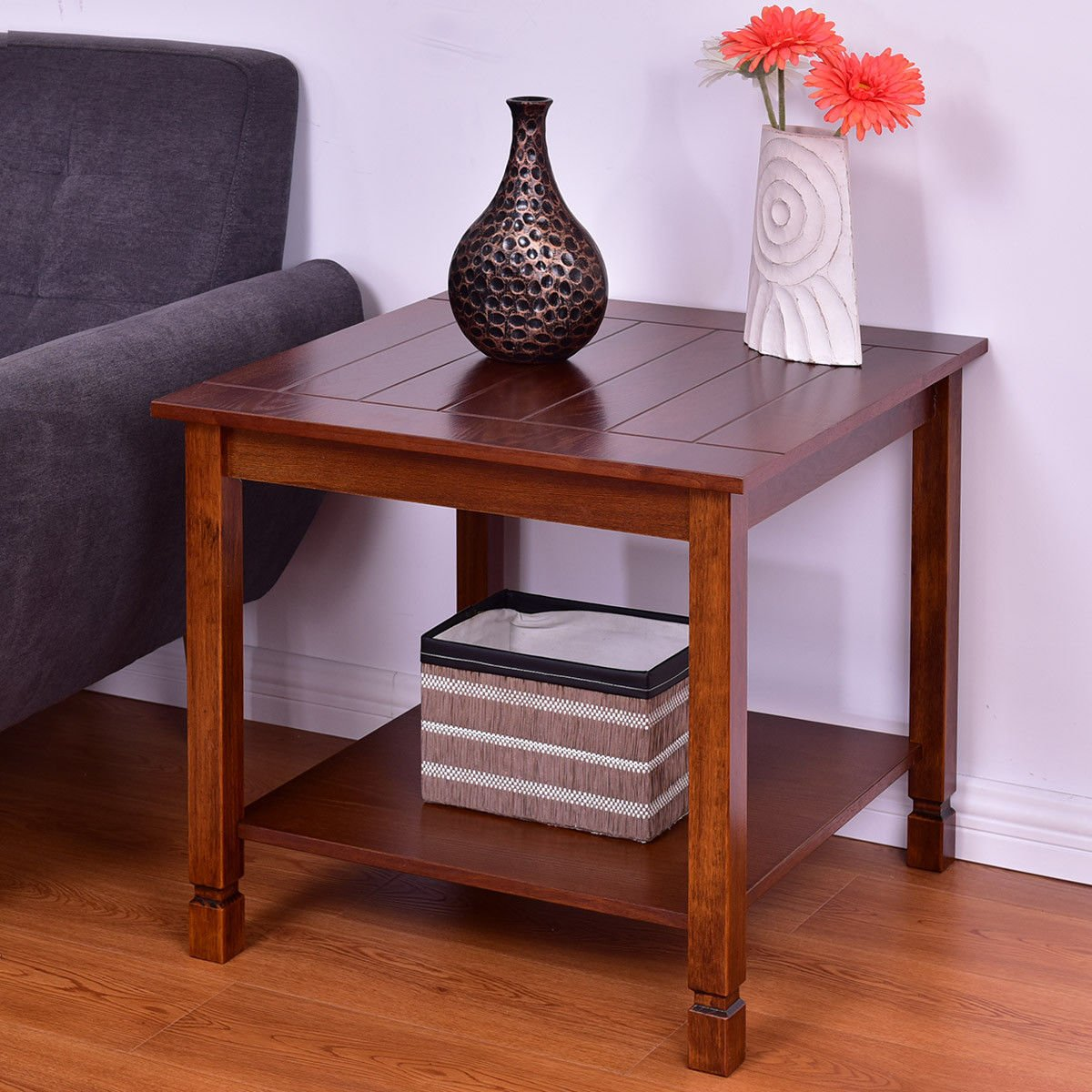 Giantex Pine Wood End Table with Shelf, 2-Tier Side Table with Storage Bedside Sofa Table for Living Room, Bedroom, Solid Sturcture Eco-Friendly Material Espresso Coffee Table Nightstand (Walnut) by Giantex (Image #2)