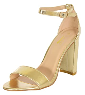Amazon.com | Glaze Women's Single Band Chunky Heel Sandal With ...